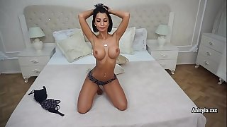 Anisyia shows her perfect body and plays with fat dildo