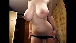 The Most Awesome Pair of TITS you'll see today! Naturally busty girl strips and masturbates. 100% real giant boobs, incredible amateur juggs on a slender chick.