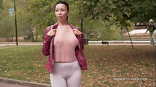 Thin white tight leggings and sheer blouse… Did you check out my cameltoe ;)?