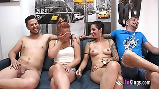 Unexperienced duo enjoys a swinger session with two experienced pornography performers