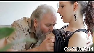 Young stunner licked by an old guy